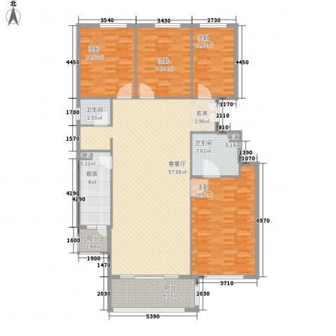 竹溪园4室1厅2卫1厨206.00㎡户型图