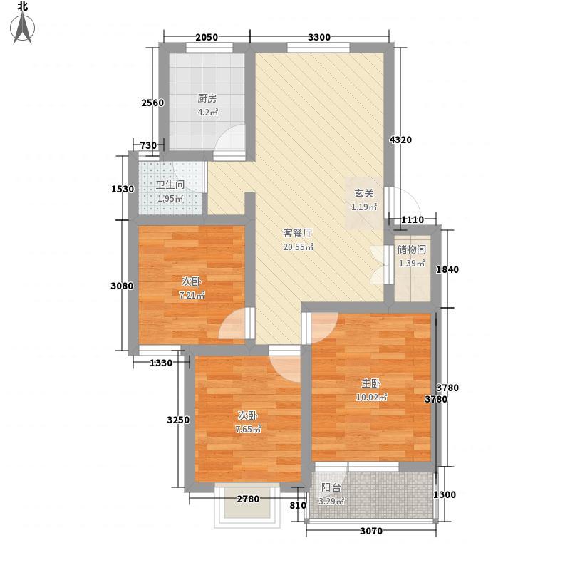 得月苑83.00㎡户型3室