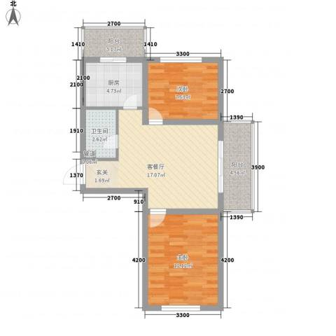 台北华郡2室1厅1卫1厨51.86㎡户型图