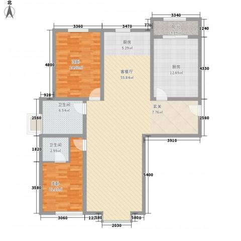 青川嘉园2室1厅2卫1厨150.00㎡户型图