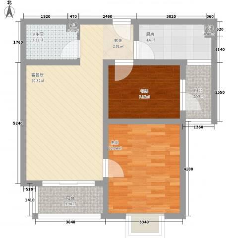 鲁铁花样年华2室1厅1卫1厨79.00㎡户型图