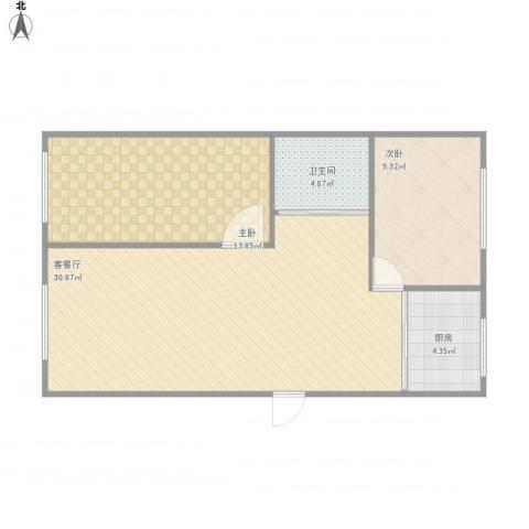 深圳花园2室1厅1卫1厨94.00㎡户型图