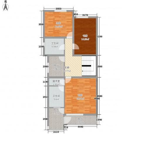 传输局宿舍3室1厅2卫0厨127.00㎡户型图