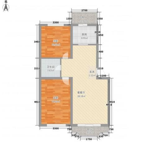 台北华郡2室1厅1卫1厨78.00㎡户型图
