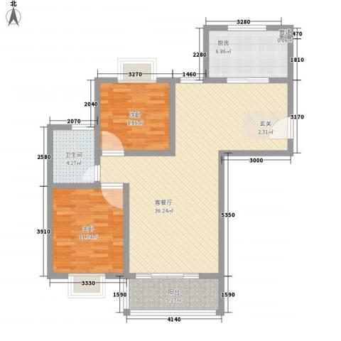 鲁铁花样年华2室1厅1卫1厨72.91㎡户型图