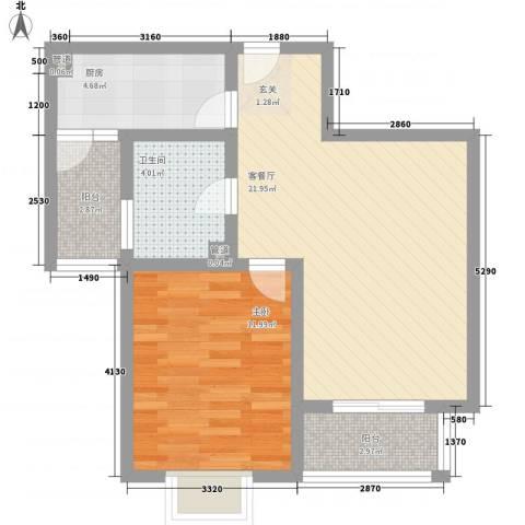 鲁铁花样年华1室1厅1卫1厨72.00㎡户型图