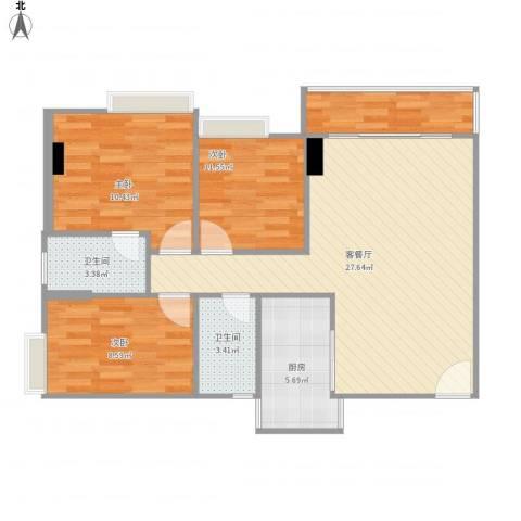 荔苑大厦3室1厅2卫1厨97.00㎡户型图