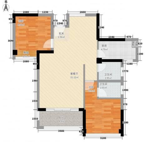 嘉都综合楼2室1厅2卫1厨96.00㎡户型图