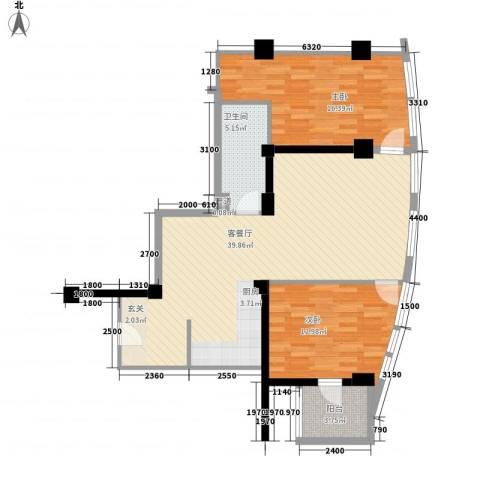 东方新天地大厦2室1厅1卫0厨117.00㎡户型图