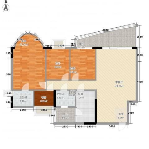 逸景翠园御景轩4室1厅2卫1厨155.00㎡户型图