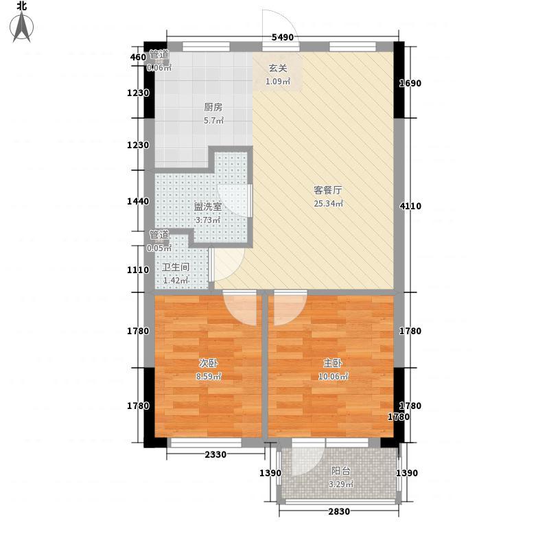 大有恬园78.72㎡廊式L7-户型2室1厅1卫1厨