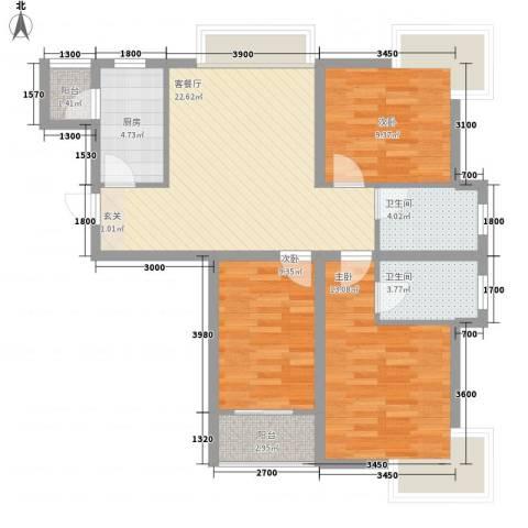 汇腾大厦3室1厅2卫1厨102.00㎡户型图