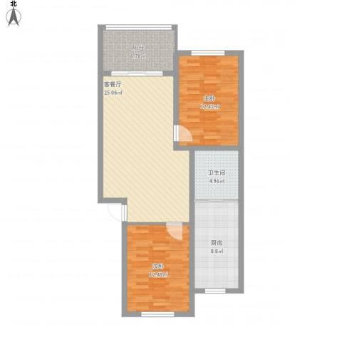 梅花苑2室1厅1卫1厨100.00㎡户型图