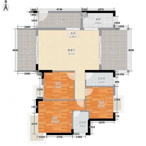 东江明珠花园3室1厅2卫1厨172.00㎡户型图