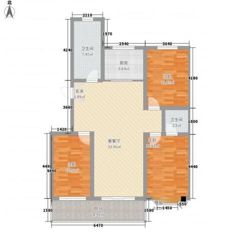 吴兴庄园3室1厅2卫1厨105.76㎡户型图