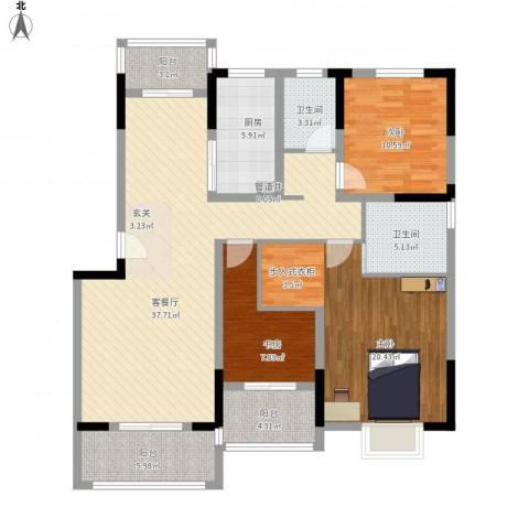 国信金邸世家3室1厅2卫1厨150.00㎡户型图