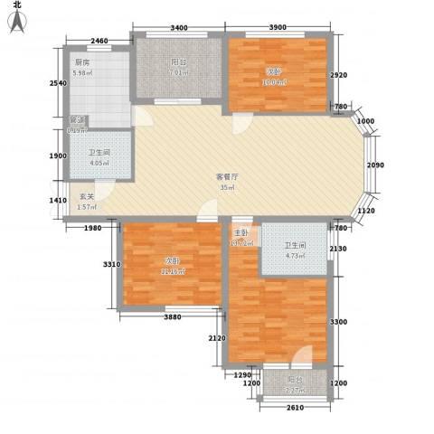 中环新天地3室1厅2卫1厨134.00㎡户型图