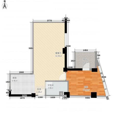 东方新天地大厦1室1厅1卫0厨74.00㎡户型图