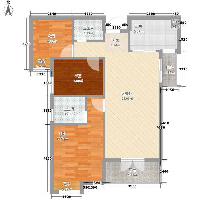 阳逻金色港湾8.66㎡3号楼D2户型2室2厅2卫1厨