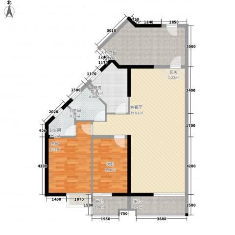 禹洲环东国际2室1厅2卫1厨100.66㎡户型图