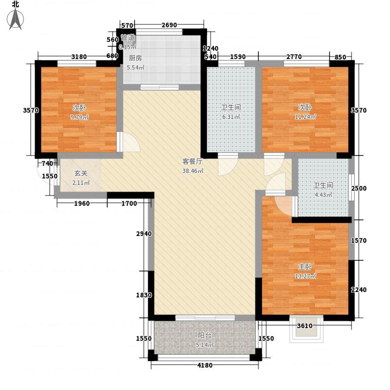 亿弘锦园136.17㎡5号楼C户型3室2厅2卫1厨