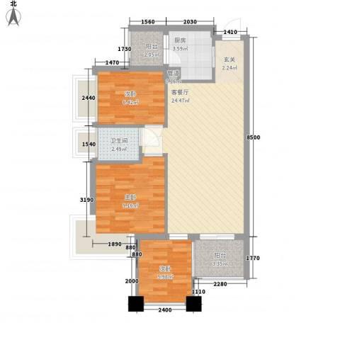 雍翠园3室1厅1卫1厨125.00㎡户型图