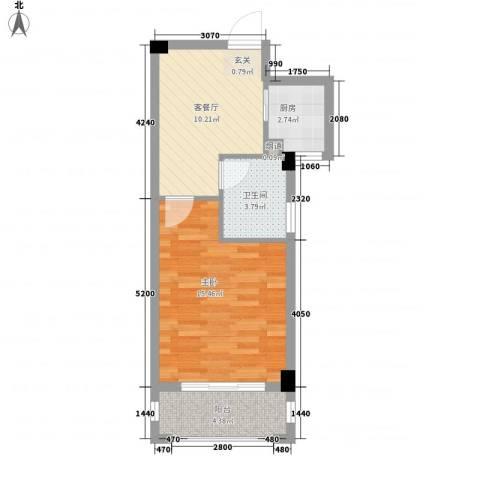 越溪湖畔1室1厅1卫1厨53.00㎡户型图