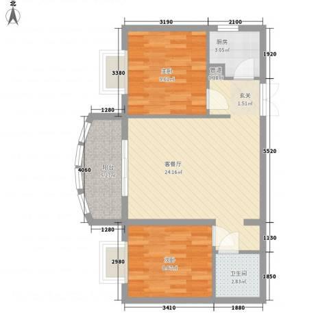 源昌大厦2室1厅1卫1厨77.00㎡户型图