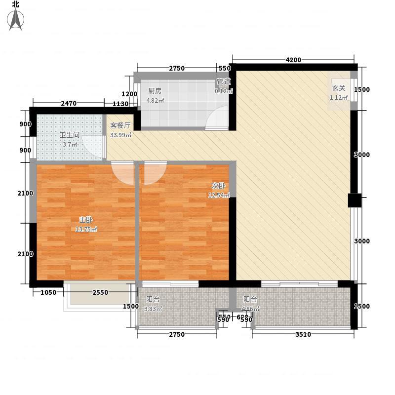 禹洲环东国际86.00㎡8#、9#楼02、08单元户型2室2厅1卫1厨