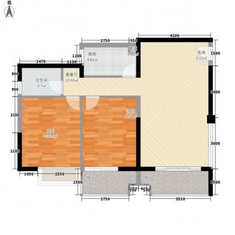 禹洲环东国际2室1厅1卫1厨86.00㎡户型图