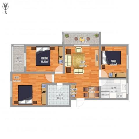 华苑居华里4-1-6013室1厅1卫1厨102.00㎡户型图