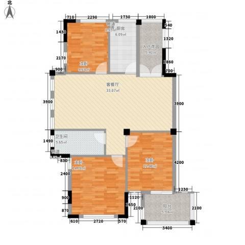 星汇半岛3室1厅1卫1厨130.00㎡户型图