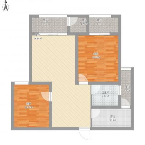 景徽国际2室1厅1卫1厨104.00㎡户型图