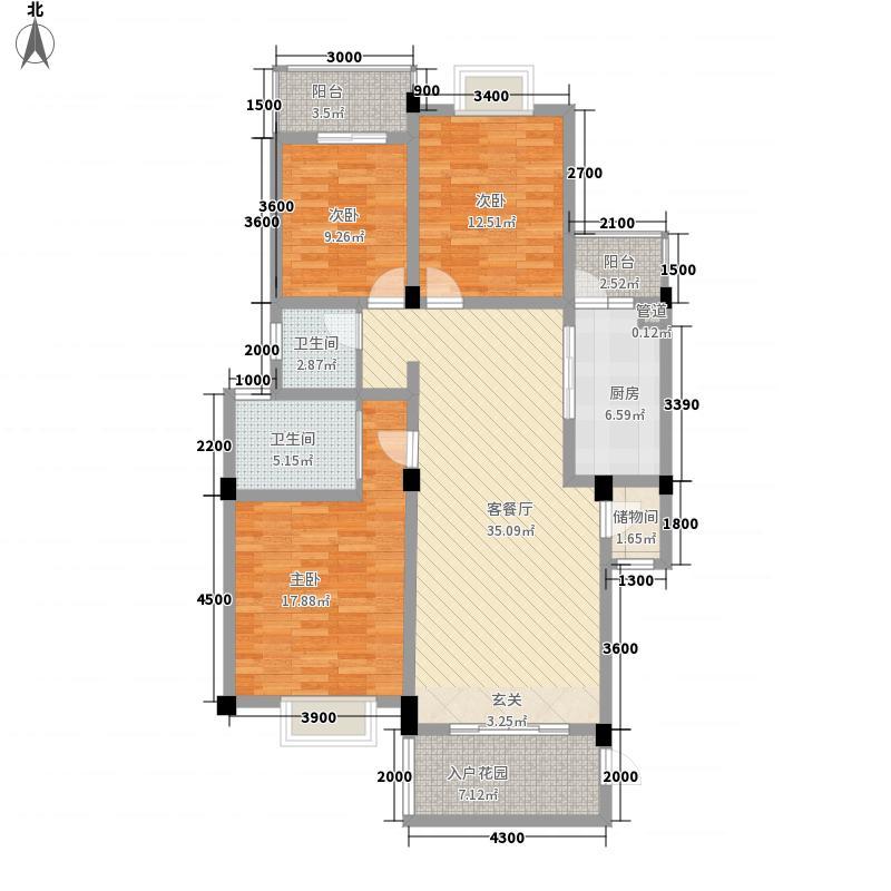 双楠风景127.20㎡D型户型3室2厅2卫1厨