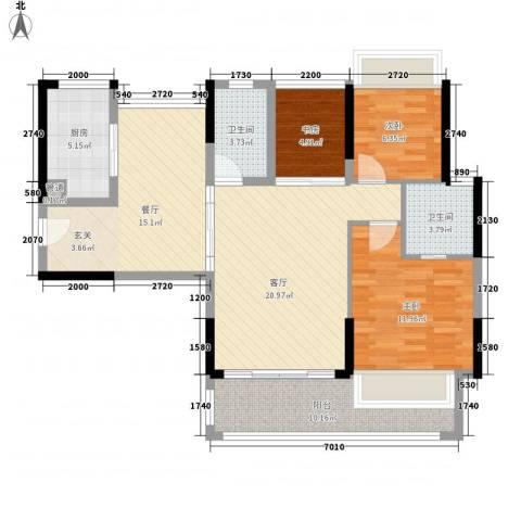 美泰天韵3室2厅2卫1厨119.00㎡户型图