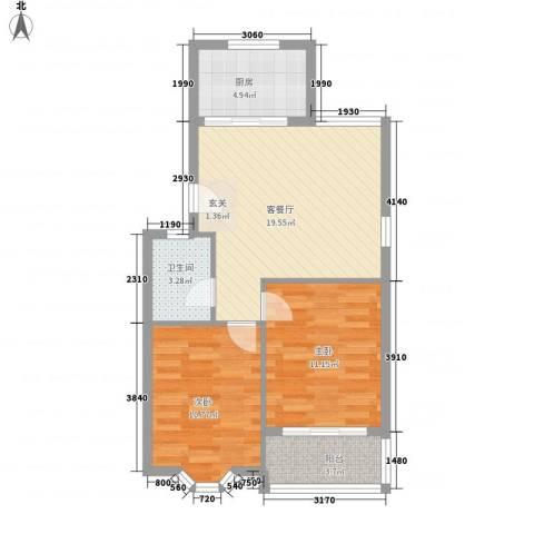 汇源华庭2室1厅1卫1厨76.00㎡户型图