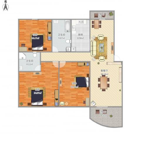 歌林春天馨园-322-1503室1厅2卫1厨188.00㎡户型图