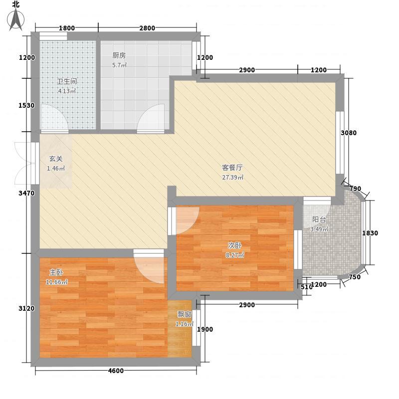 公安宿舍楼18户型2室2厅1卫1厨