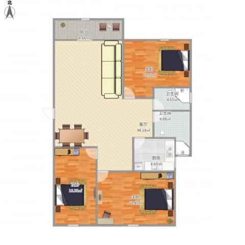 湖畔花园3室1厅2卫1厨168.00㎡户型图