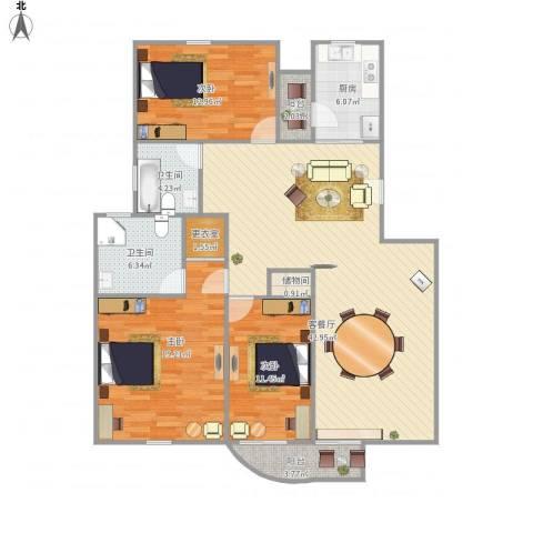 歌林春天馨园-321-1133室1厅2卫1厨150.00㎡户型图