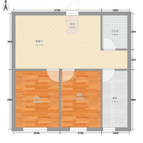 廊桥国际2室1厅1卫1厨50.49㎡户型图