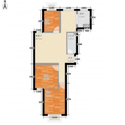 新天地购物城3室1厅1卫1厨85.00㎡户型图