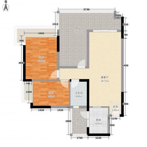 星河名居2室1厅1卫1厨84.65㎡户型图