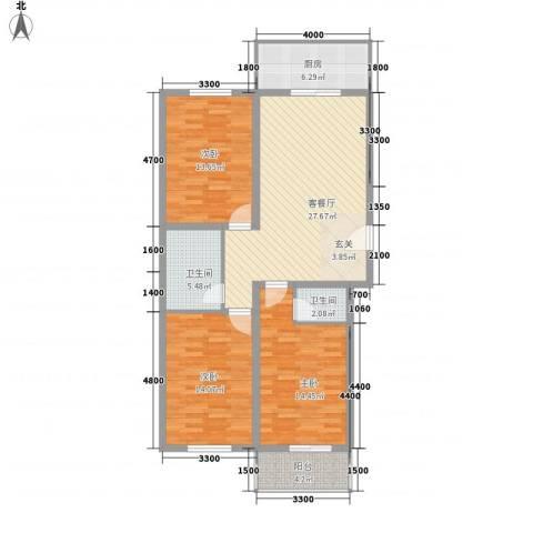 银龙广场3室1厅2卫1厨124.00㎡户型图