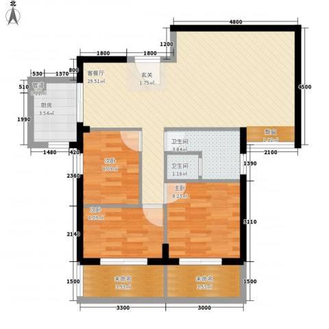 住宅莲花尚院3室1厅2卫1厨89.00㎡户型图