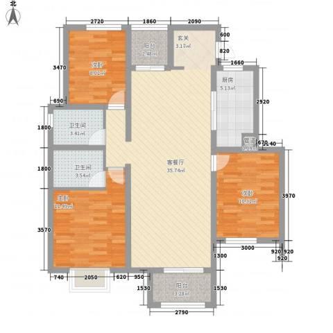 新城花园3室1厅2卫1厨96.85㎡户型图
