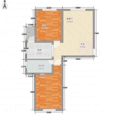 西郡帝景2室1厅1卫1厨81.00㎡户型图