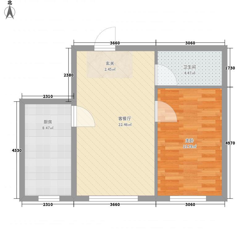 学院新城二期高层A户型1室1厅1卫1厨