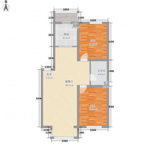 廊桥国际2室1厅1卫1厨73.99㎡户型图
