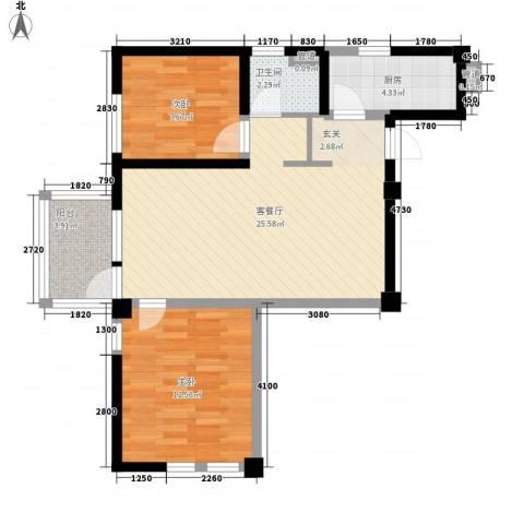 交警宿舍楼2室1厅1卫1厨82.00㎡户型图